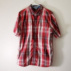 North Face mens short sleeve plaid shirt button up
